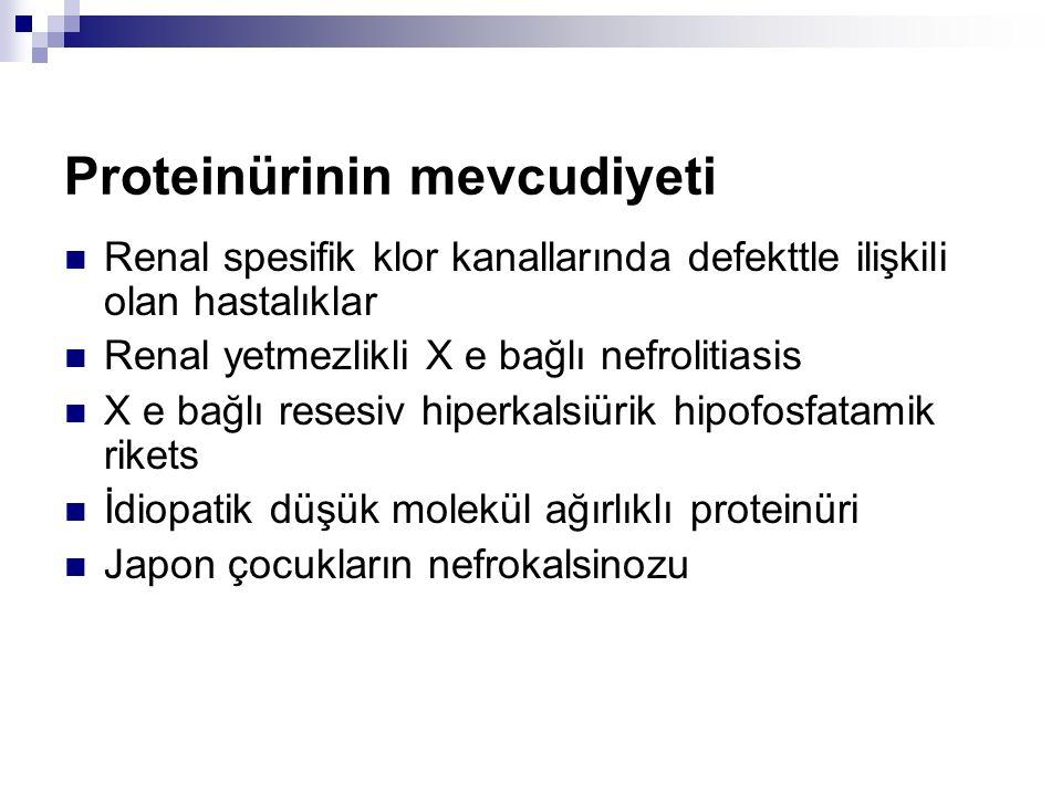 Proteinürinin mevcudiyeti Renal spesifik klor kanallarında defekttle ilişkili olan hastalıklar Renal yetmezlikli X e bağlı nefrolitiasis X e bağlı resesiv hiperkalsiürik hipofosfatamik rikets İdiopatik düşük molekül ağırlıklı proteinüri Japon çocukların nefrokalsinozu