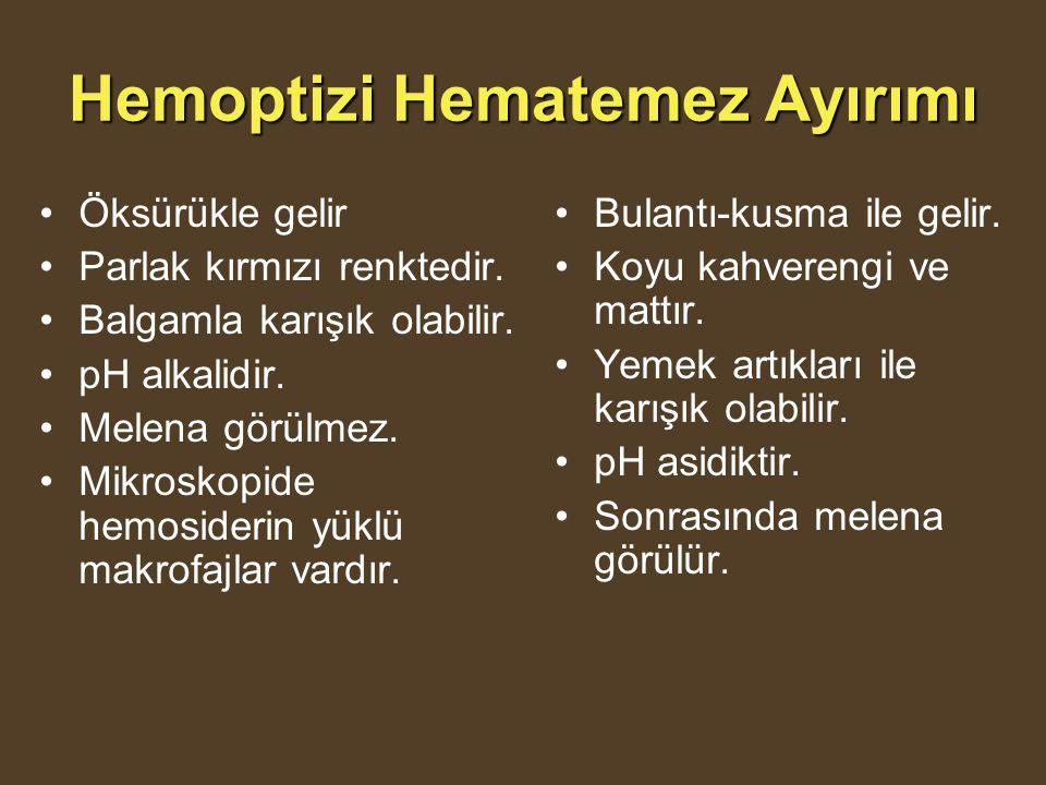 Hemoptizi Hematemez Ayırımı Öksürükle gelir Parlak kırmızı renktedir.
