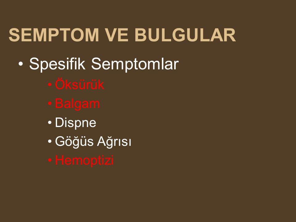 SEMPTOM VE BULGULAR Spesifik Semptomlar Öksürük Balgam Dispne Göğüs Ağrısı Hemoptizi