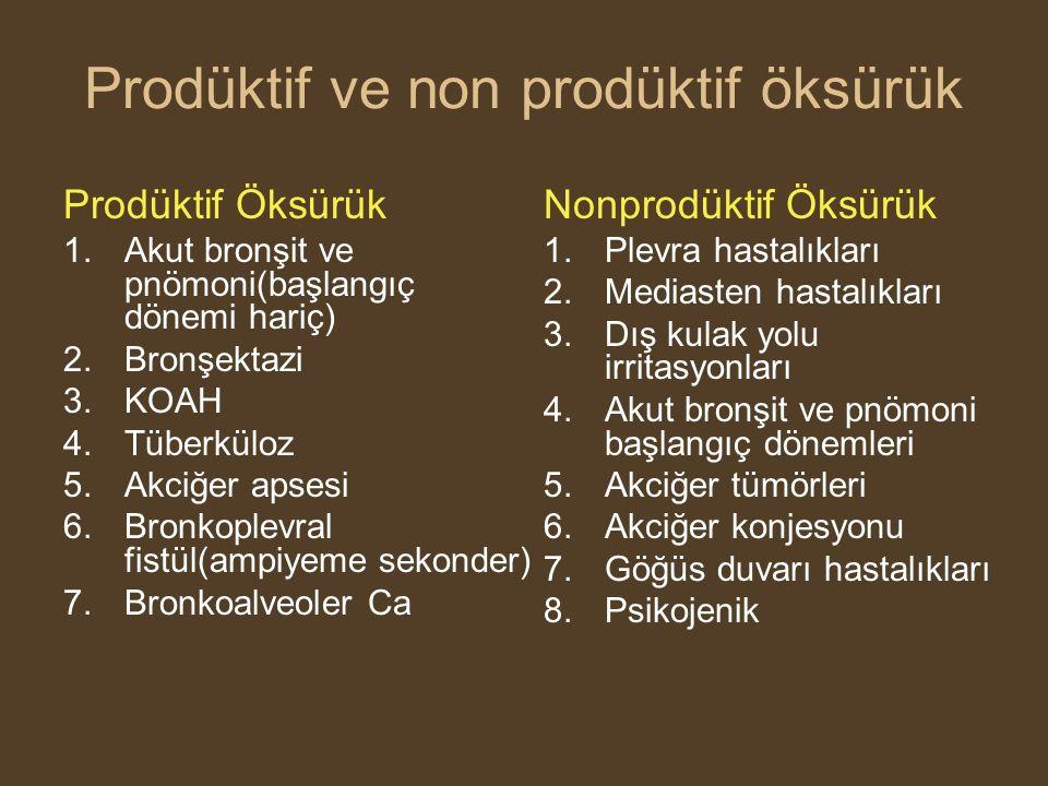 Prodüktif ve non prodüktif öksürük Prodüktif Öksürük 1.Akut bronşit ve pnömoni(başlangıç dönemi hariç) 2.Bronşektazi 3.KOAH 4.Tüberküloz 5.Akciğer apsesi 6.Bronkoplevral fistül(ampiyeme sekonder) 7.Bronkoalveoler Ca Nonprodüktif Öksürük 1.Plevra hastalıkları 2.Mediasten hastalıkları 3.Dış kulak yolu irritasyonları 4.Akut bronşit ve pnömoni başlangıç dönemleri 5.Akciğer tümörleri 6.Akciğer konjesyonu 7.Göğüs duvarı hastalıkları 8.Psikojenik
