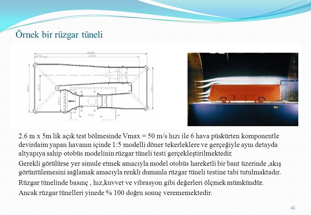 Örnek bir rüzgar tüneli 2.6 m x 5m lik açık test bölmesinde Vmax = 50 m/s hızı ile 6 hava püskürten komponentle devirdaim yapan havanın içinde 1:5 mod