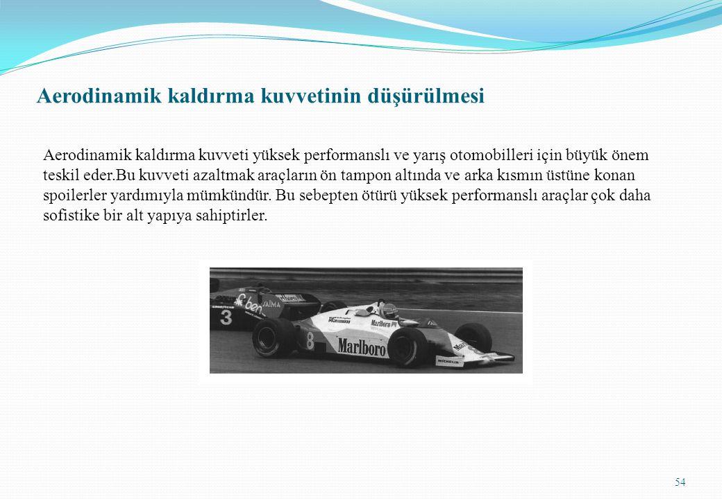 Aerodinamik kaldırma kuvvetinin düşürülmesi Aerodinamik kaldırma kuvveti yüksek performanslı ve yarış otomobilleri için büyük önem teskil eder.Bu kuvv