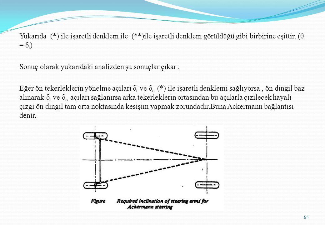 Yukarıda (*) ile işaretli denklem ile (**)ile işaretli denklem görüldüğü gibi birbirine eşittir. (θ = δ i ) Sonuç olarak yukarıdaki analizden şu sonuç