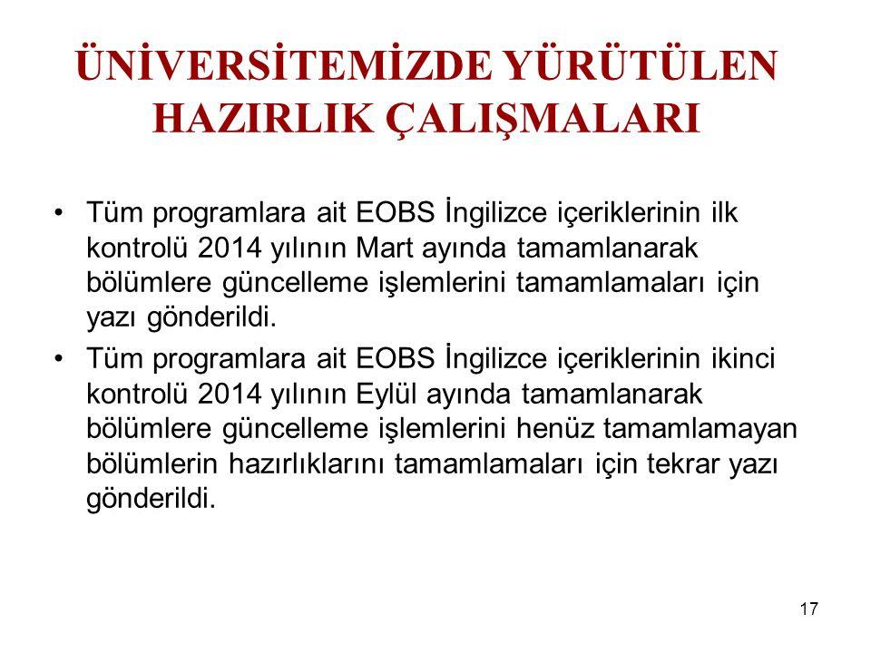 17 Tüm programlara ait EOBS İngilizce içeriklerinin ilk kontrolü 2014 yılının Mart ayında tamamlanarak bölümlere güncelleme işlemlerini tamamlamaları için yazı gönderildi.