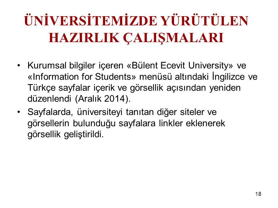 18 Kurumsal bilgiler içeren «Bülent Ecevit University» ve «Information for Students» menüsü altındaki İngilizce ve Türkçe sayfalar içerik ve görsellik açısından yeniden düzenlendi (Aralık 2014).
