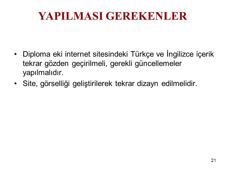 21 Diploma eki internet sitesindeki Türkçe ve İngilizce içerik tekrar gözden geçirilmeli, gerekli güncellemeler yapılmalıdır. Site, görselliği gelişti