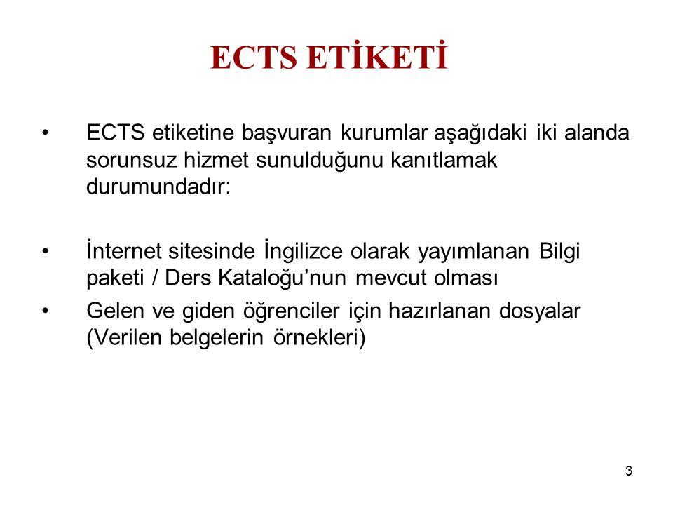 3 ECTS etiketine başvuran kurumlar aşağıdaki iki alanda sorunsuz hizmet sunulduğunu kanıtlamak durumundadır: İnternet sitesinde İngilizce olarak yayımlanan Bilgi paketi / Ders Kataloğu'nun mevcut olması Gelen ve giden öğrenciler için hazırlanan dosyalar (Verilen belgelerin örnekleri) ECTS ETİKETİ