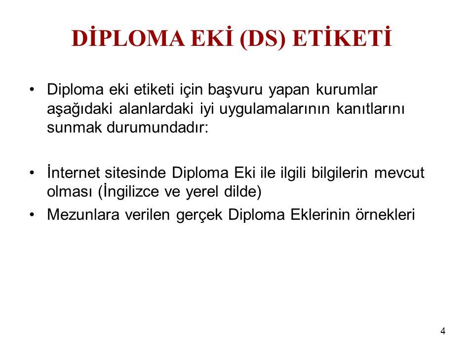 4 Diploma eki etiketi için başvuru yapan kurumlar aşağıdaki alanlardaki iyi uygulamalarının kanıtlarını sunmak durumundadır: İnternet sitesinde Diplom