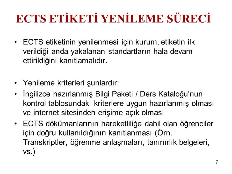 7 ECTS etiketinin yenilenmesi için kurum, etiketin ilk verildiği anda yakalanan standartların hala devam ettirildiğini kanıtlamalıdır. Yenileme kriter