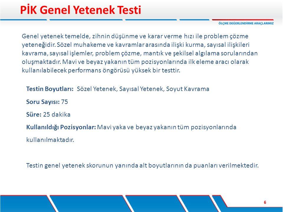 Testin Boyutları: Sözel Analiz, Sayısal Analiz Soru Sayısı: 50 Süre: 40 dakika Kullanıldığı Pozisyonlar: Yönetici ve yönetici adayları Testin toplam skorunun yanında alt boyutlarının da puanları verilmektedir.