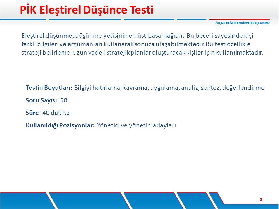 Testin Boyutları: Bilgiyi hatırlama, kavrama, uygulama, analiz, sentez, değerlendirme Soru Sayısı: 50 Süre: 40 dakika Kullanıldığı Pozisyonlar: Yöneti