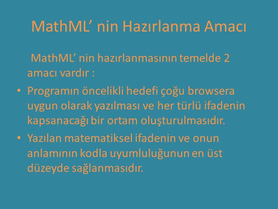 MathML' nin Hazırlanma Amacı MathML' nin hazırlanmasının temelde 2 amacı vardır : Programın öncelikli hedefi çoğu browsera uygun olarak yazılması ve her türlü ifadenin kapsanacağı bir ortam oluşturulmasıdır.