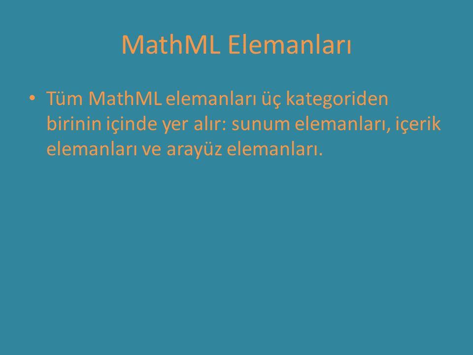 MathML Elemanları Tüm MathML elemanları üç kategoriden birinin içinde yer alır: sunum elemanları, içerik elemanları ve arayüz elemanları.