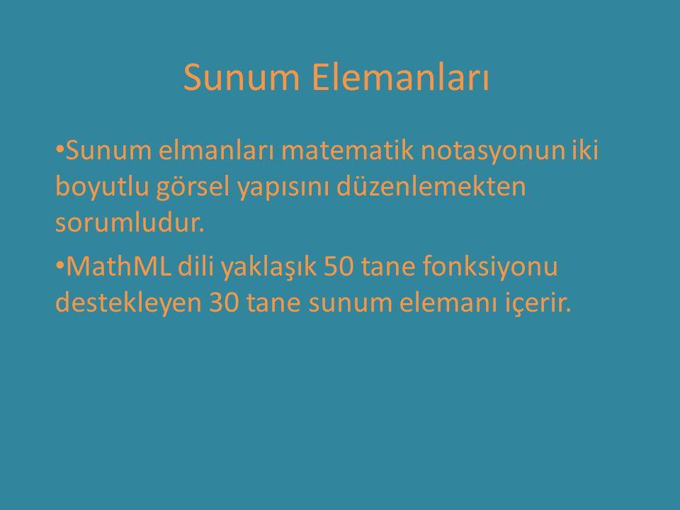 Sunum Elemanları Sunum elmanları matematik notasyonun iki boyutlu görsel yapısını düzenlemekten sorumludur. MathML dili yaklaşık 50 tane fonksiyonu de