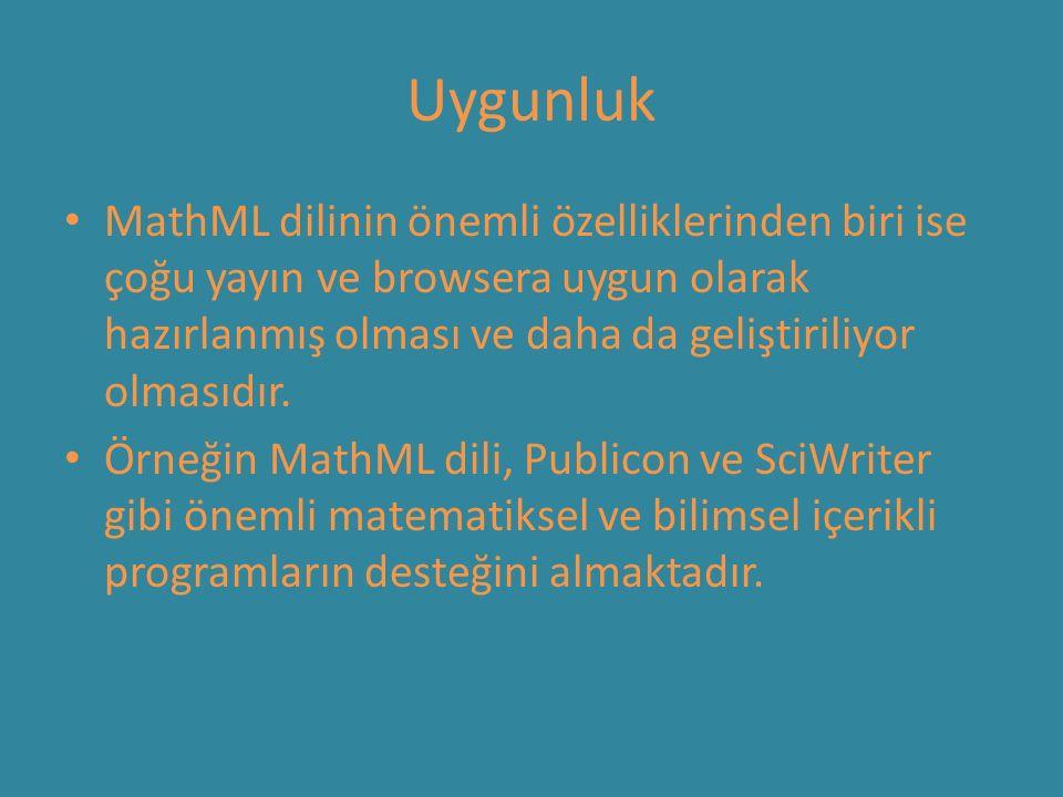 Uygunluk MathML dilinin önemli özelliklerinden biri ise çoğu yayın ve browsera uygun olarak hazırlanmış olması ve daha da geliştiriliyor olmasıdır. Ör