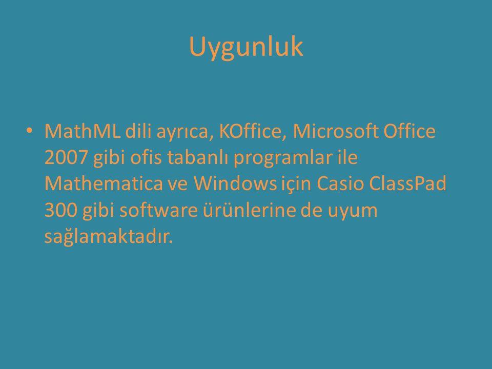 Uygunluk MathML dili ayrıca, KOffice, Microsoft Office 2007 gibi ofis tabanlı programlar ile Mathematica ve Windows için Casio ClassPad 300 gibi software ürünlerine de uyum sağlamaktadır.