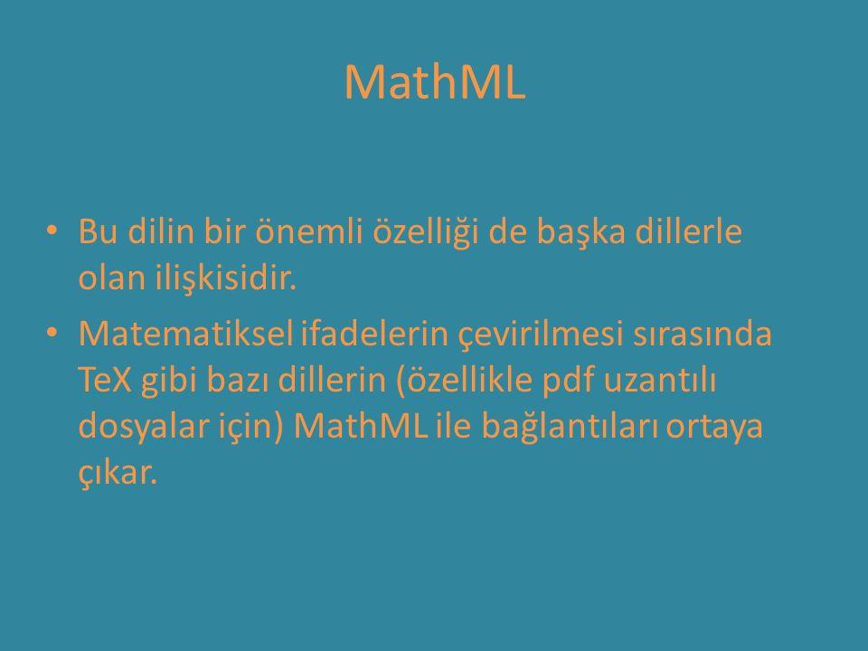 MathML Bu dilin bir önemli özelliği de başka dillerle olan ilişkisidir. Matematiksel ifadelerin çevirilmesi sırasında TeX gibi bazı dillerin (özellikl