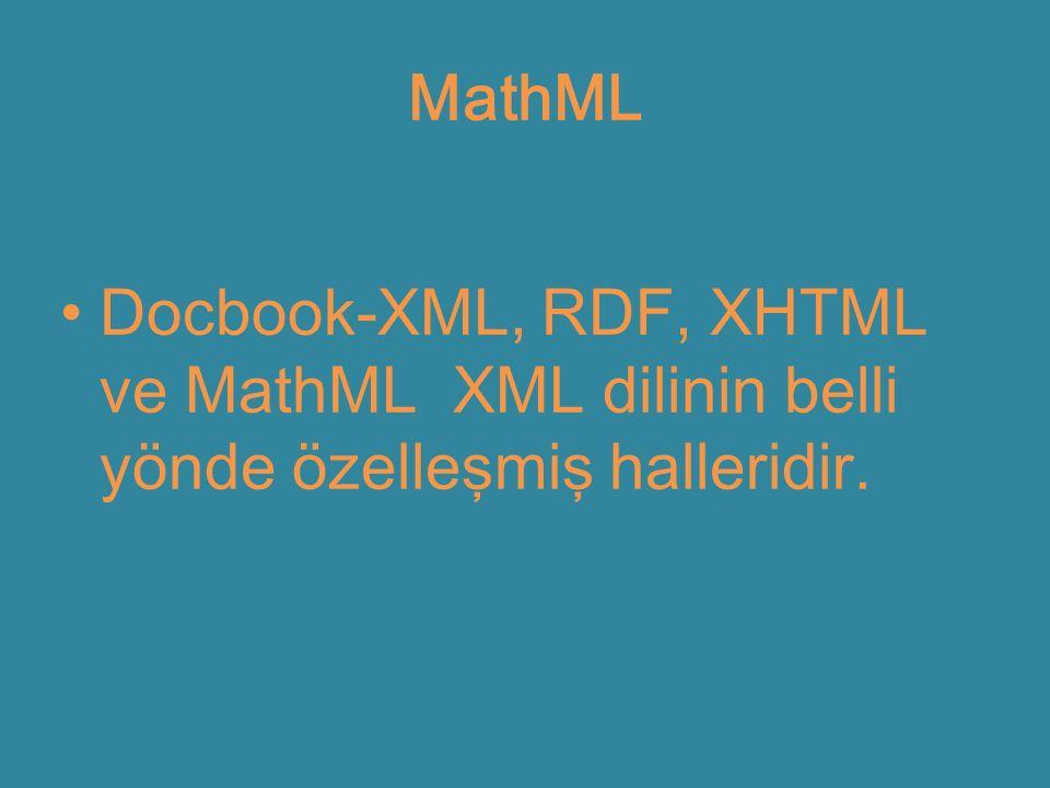 MathML Docbook-XML, RDF, XHTML ve MathML XML dilinin belli yönde özelleşmiş halleridir.