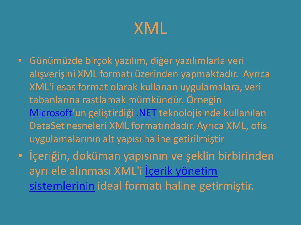 XML Günümüzde birçok yazılım, diğer yazılımlarla veri alışverişini XML formatı üzerinden yapmaktadır. Ayrıca XML'i esas format olarak kullanan uygulam