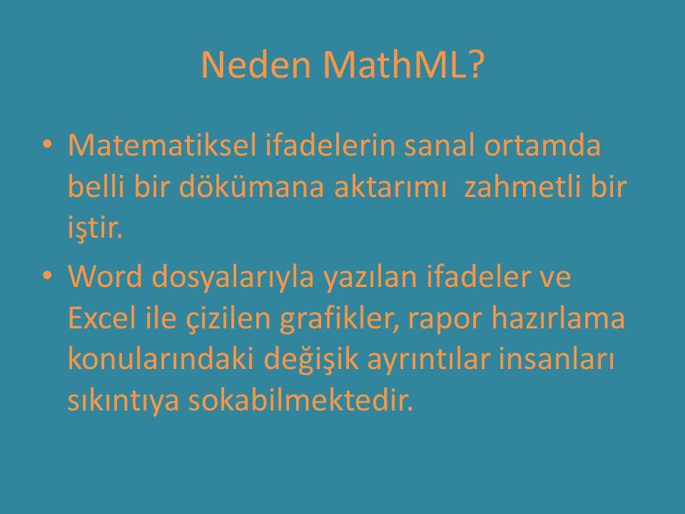 Neden MathML? Matematiksel ifadelerin sanal ortamda belli bir dökümana aktarımı zahmetli bir iştir. Word dosyalarıyla yazılan ifadeler ve Excel ile çi