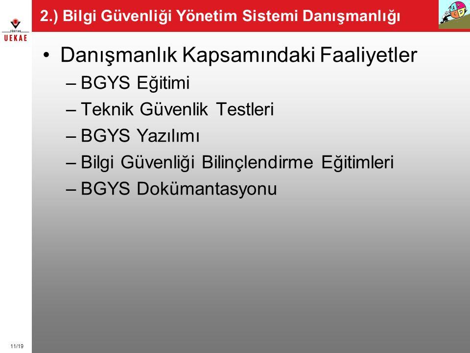 11/19 2.) Bilgi Güvenliği Yönetim Sistemi Danışmanlığı Danışmanlık Kapsamındaki Faaliyetler –BGYS Eğitimi –Teknik Güvenlik Testleri –BGYS Yazılımı –Bi