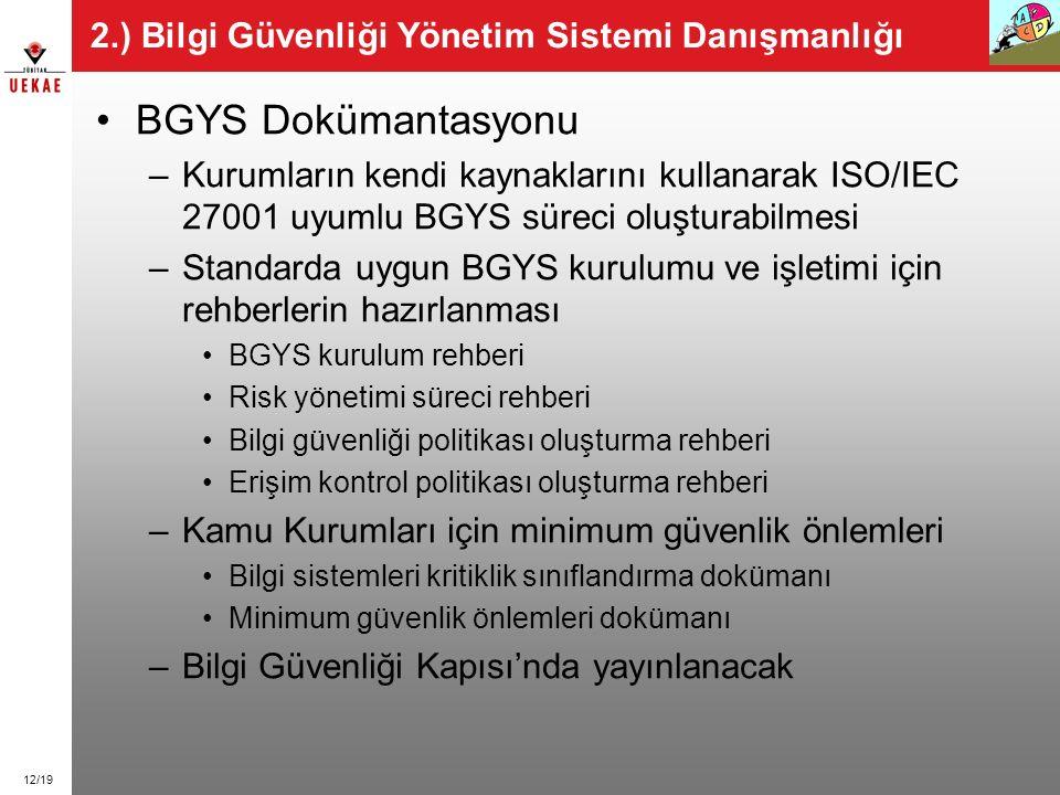 12/19 2.) Bilgi Güvenliği Yönetim Sistemi Danışmanlığı BGYS Dokümantasyonu –Kurumların kendi kaynaklarını kullanarak ISO/IEC 27001 uyumlu BGYS süreci