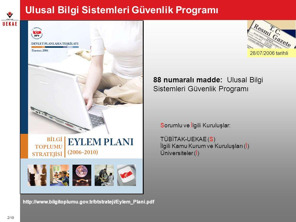 2/19 Ulusal Bilgi Sistemleri Güvenlik Programı 28/07/2006 tarihli http://www.bilgitoplumu.gov.tr/btstrateji/Eylem_Plani.pdf 88 numaralı madde: Ulusal