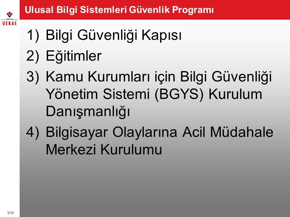 3/19 Ulusal Bilgi Sistemleri Güvenlik Programı 1)Bilgi Güvenliği Kapısı 2)Eğitimler 3)Kamu Kurumları için Bilgi Güvenliği Yönetim Sistemi (BGYS) Kurul