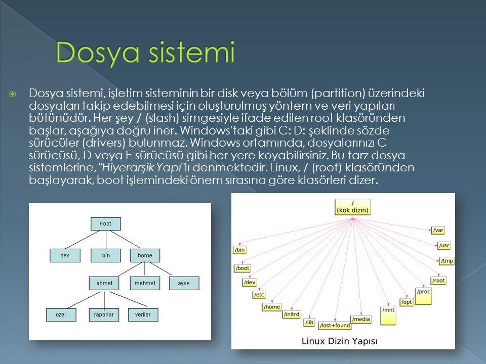  Dosya sistemi, işletim sisteminin bir disk veya bölüm (partition) üzerindeki dosyaları takip edebilmesi için oluşturulmuş yöntem ve veri yapıları bütünüdür.