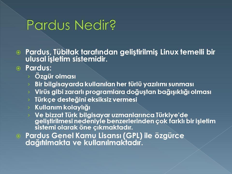  Pardus, Tübitak tarafından geliştirilmiş Linux temelli bir ulusal işletim sistemidir.  Pardus: › Özgür olması › Bir bilgisayarda kullanılan her tür