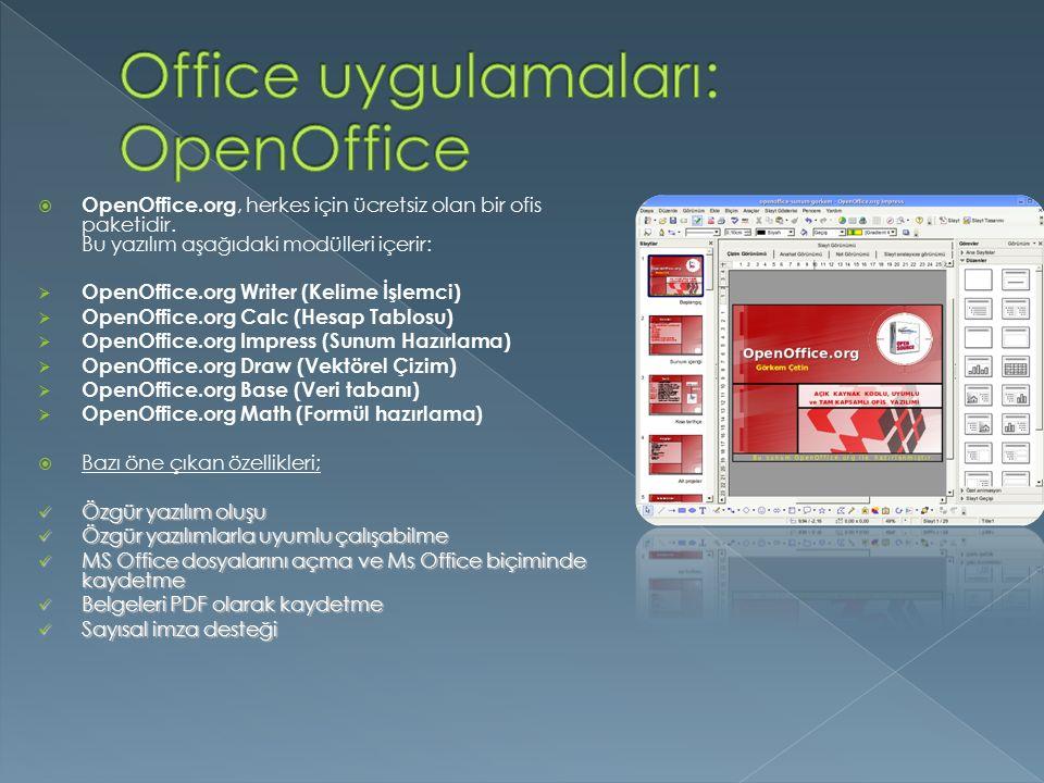  OpenOffice.org, herkes için ücretsiz olan bir ofis paketidir. Bu yazılım aşağıdaki modülleri içerir:  OpenOffice.org Writer (Kelime İşlemci)  Open
