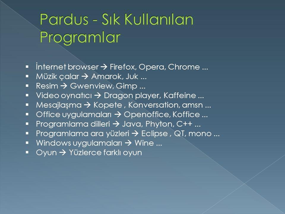  İnternet browser  Firefox, Opera, Chrome...  Müzik çalar  Amarok, Juk...  Resim  Gwenview, Gimp...  Video oynatıcı  Dragon player, Kaffeine..