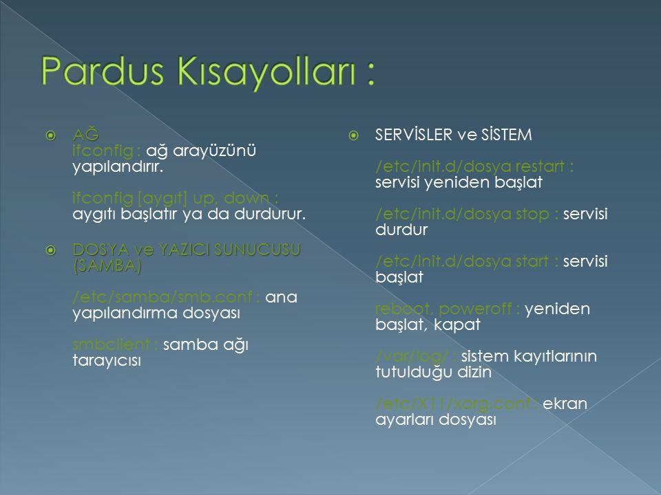  AĞ  AĞ ifconfig : ağ arayüzünü yapılandırır.