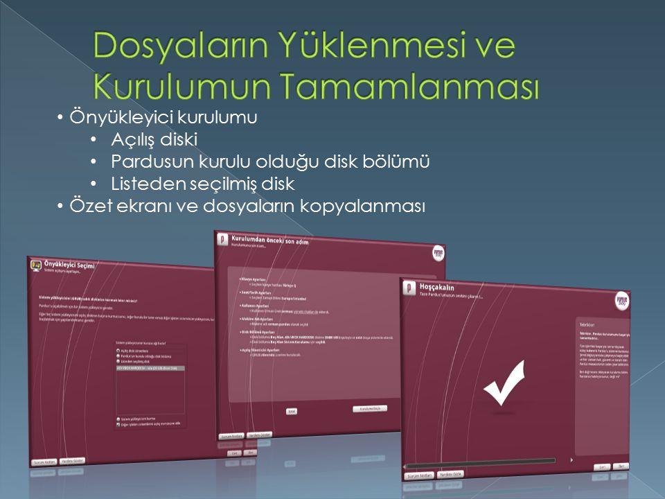 Önyükleyici kurulumu Açılış diski Pardusun kurulu olduğu disk bölümü Listeden seçilmiş disk Özet ekranı ve dosyaların kopyalanması