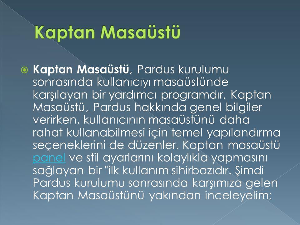  Kaptan Masaüstü, Pardus kurulumu sonrasında kullanıcıyı masaüstünde karşılayan bir yardımcı programdır. Kaptan Masaüstü, Pardus hakkında genel bilgi
