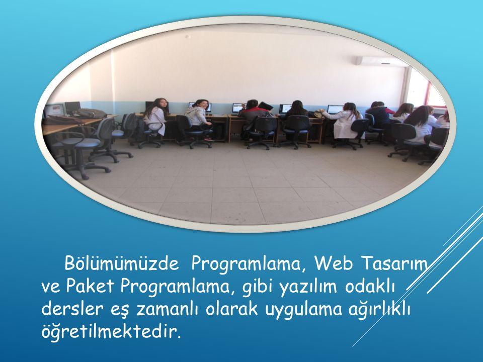 Bölümümüzde Programlama, Web Tasarım ve Paket Programlama, gibi yazılım odaklı dersler eş zamanlı olarak uygulama ağırlıklı öğretilmektedir.