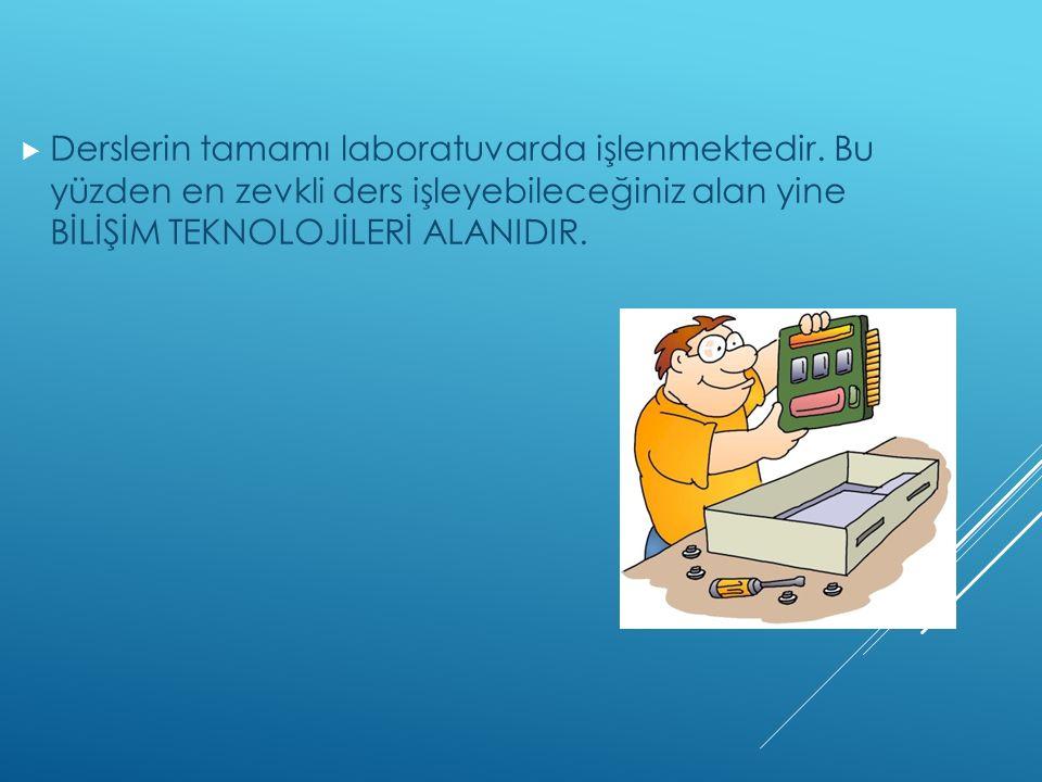  Derslerin tamamı laboratuvarda işlenmektedir.