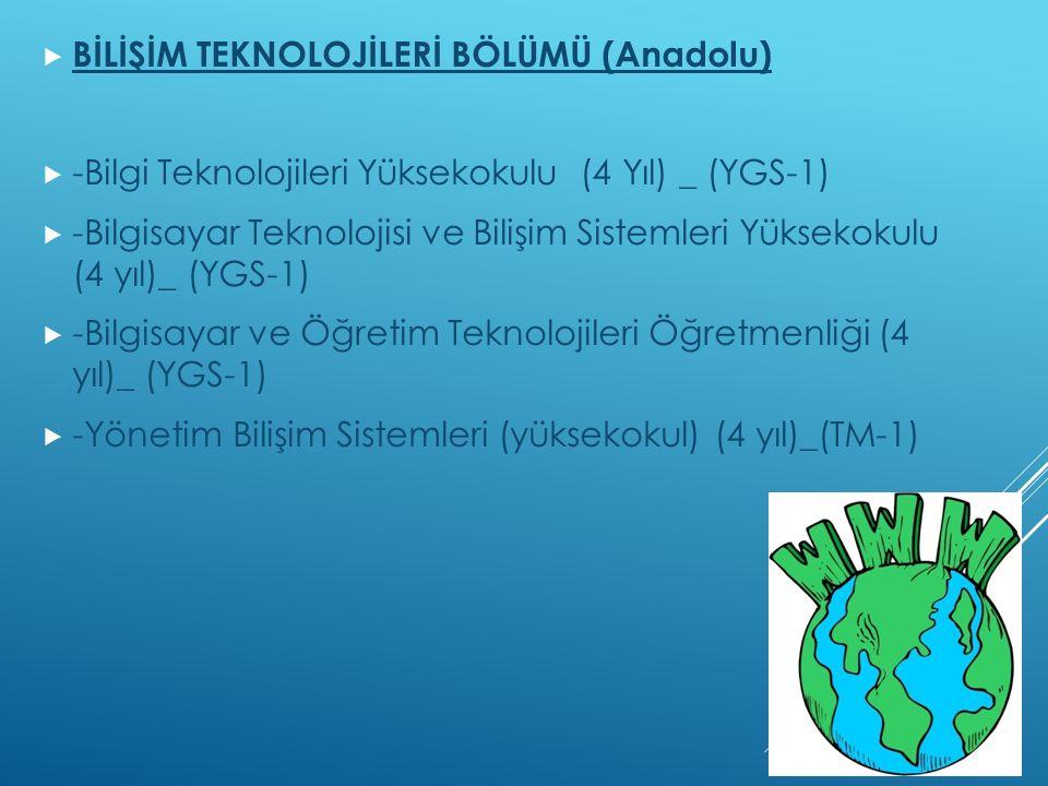  BİLİŞİM TEKNOLOJİLERİ BÖLÜMÜ (Anadolu)  -Bilgi Teknolojileri Yüksekokulu (4 Yıl) _ (YGS-1)  -Bilgisayar Teknolojisi ve Bilişim Sistemleri Yüksekokulu (4 yıl)_ (YGS-1)  -Bilgisayar ve Öğretim Teknolojileri Öğretmenliği (4 yıl)_ (YGS-1)  -Yönetim Bilişim Sistemleri (yüksekokul) (4 yıl)_(TM-1)