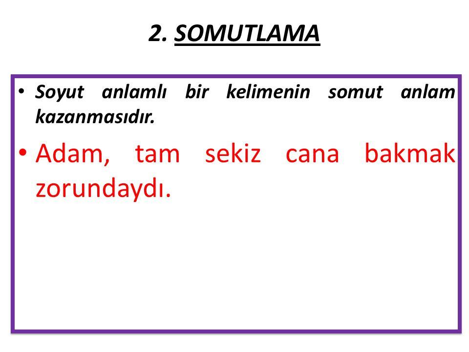 2. SOMUTLAMA Soyut anlamlı bir kelimenin somut anlam kazanmasıdır.