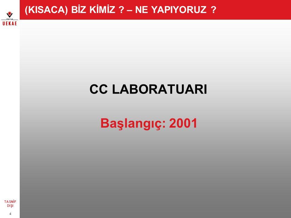 4 TASNİF DIŞI (KISACA) BİZ KİMİZ – NE YAPIYORUZ CC LABORATUARI Başlangıç: 2001