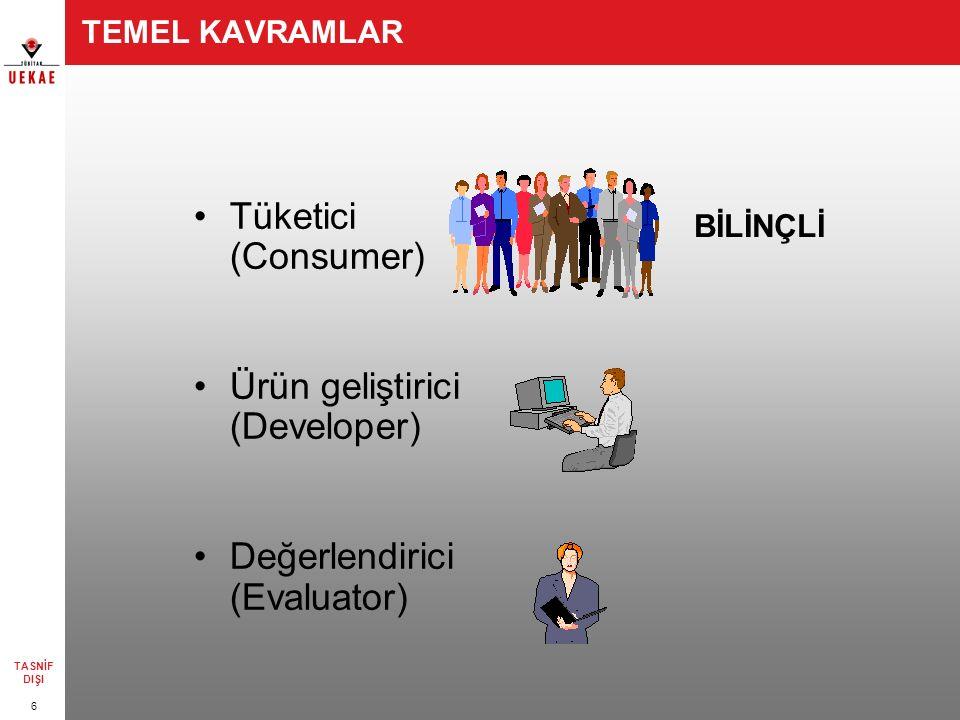 6 TASNİF DIŞI TEMEL KAVRAMLAR Tüketici (Consumer) Ürün geliştirici (Developer) Değerlendirici (Evaluator) BİLİNÇLİ