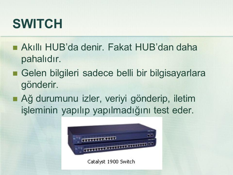 SWITCH Akıllı HUB'da denir.Fakat HUB'dan daha pahalıdır.