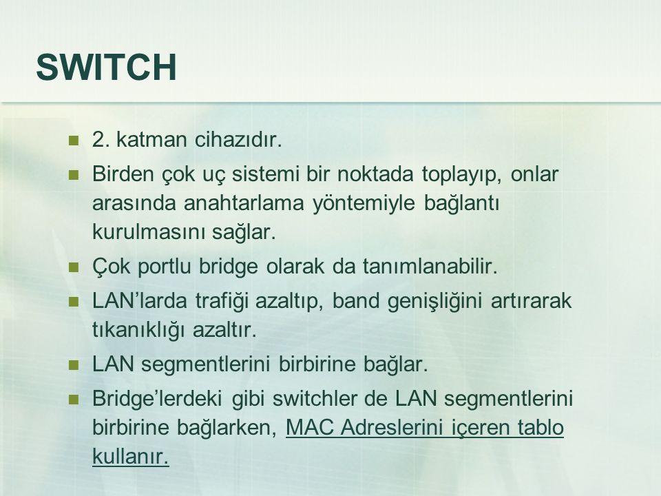 SWITCH 2.katman cihazıdır.