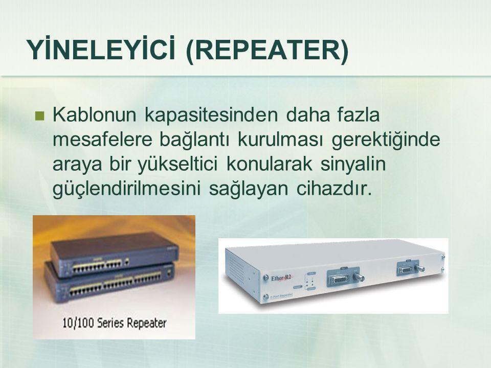 YİNELEYİCİ (REPEATER) Kablonun kapasitesinden daha fazla mesafelere bağlantı kurulması gerektiğinde araya bir yükseltici konularak sinyalin güçlendirilmesini sağlayan cihazdır.