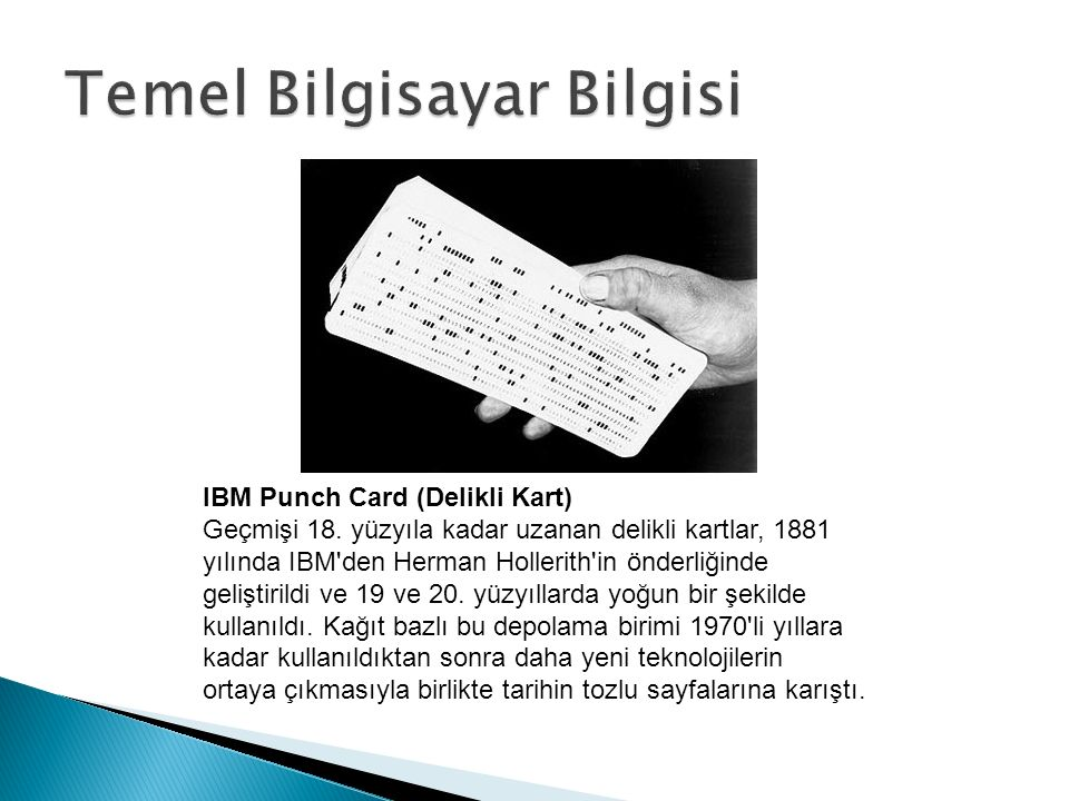 IBM Punch Card (Delikli Kart) Geçmişi 18.