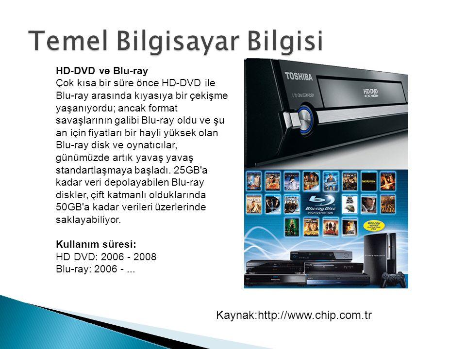 HD-DVD ve Blu-ray Çok kısa bir süre önce HD-DVD ile Blu-ray arasında kıyasıya bir çekişme yaşanıyordu; ancak format savaşlarının galibi Blu-ray oldu ve şu an için fiyatları bir hayli yüksek olan Blu-ray disk ve oynatıcılar, günümüzde artık yavaş yavaş standartlaşmaya başladı.
