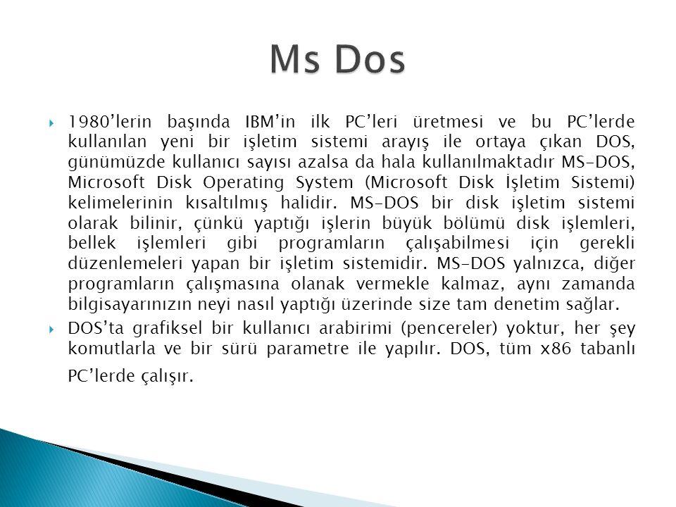  1980'lerin başında IBM'in ilk PC'leri üretmesi ve bu PC'lerde kullanılan yeni bir işletim sistemi arayış ile ortaya çıkan DOS, günümüzde kullanıcı sayısı azalsa da hala kullanılmaktadır MS-DOS, Microsoft Disk Operating System (Microsoft Disk İşletim Sistemi) kelimelerinin kısaltılmış halidir.