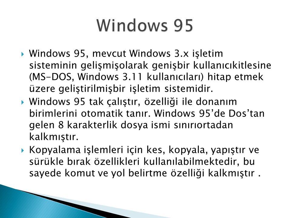  Windows 95, mevcut Windows 3.x işletim sisteminin gelişmişolarak genişbir kullanıcıkitlesine (MS-DOS, Windows 3.11 kullanıcıları) hitap etmek üzere geliştirilmişbir işletim sistemidir.