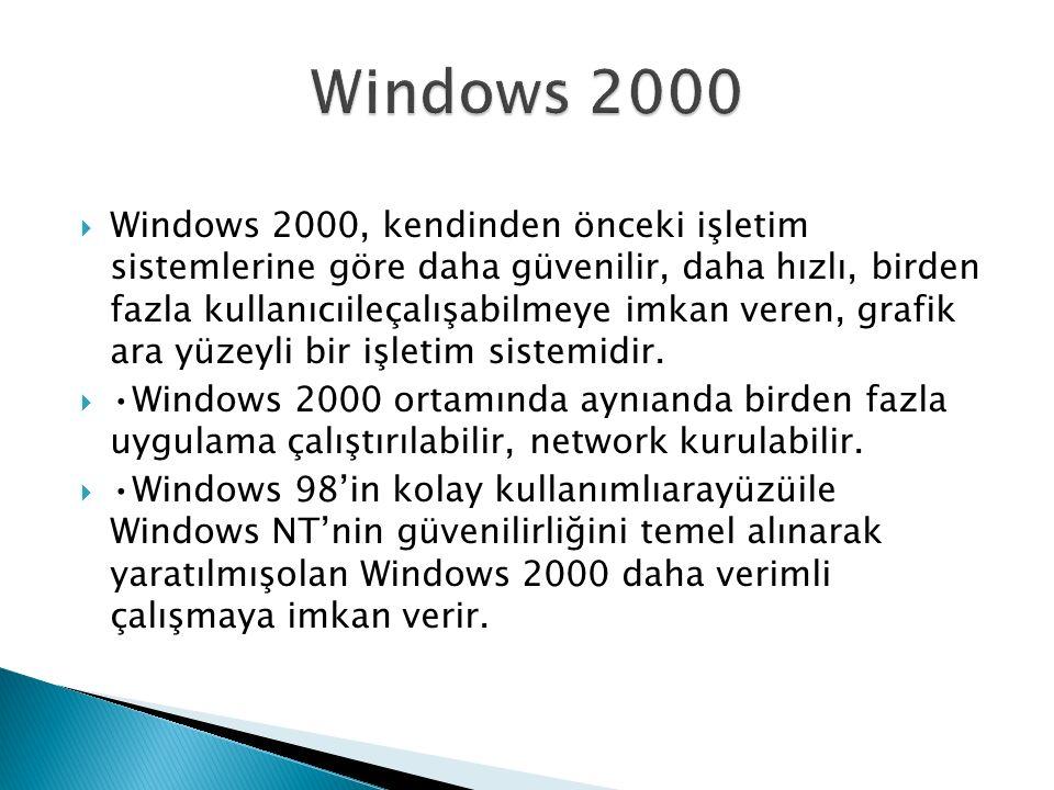  Windows 2000, kendinden önceki işletim sistemlerine göre daha güvenilir, daha hızlı, birden fazla kullanıcıileçalışabilmeye imkan veren, grafik ara yüzeyli bir işletim sistemidir.