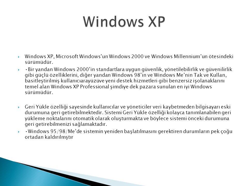  Windows XP, Microsoft Windows'un Windows 2000 ve Windows Millennium'un ötesindeki sürümüdür.